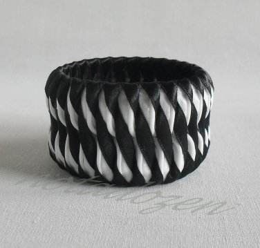 Recycled Bottle Caps Bracelet/woman bangle(18)-Black ribbon obliquely wrapped handmade jewelry
