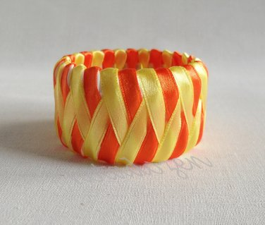 Recycled Bottle Caps Bracelet/women bangle(19)-yellow and orange ribbon wrapped/handmade jewelry