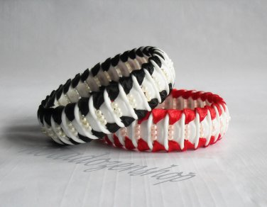 Recycled Bottle Caps Bracelet/women bangle(4)-black/red ribbon and color beads/handmade jewelry