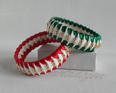 Recycled Bottle Caps Bracelet/women bangle(21)-red/green ribbon and gold beads/handmade jewelry