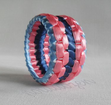 Recycled Bottle Caps Bracelet/women bangle(22)-Pink and blue ribbon stripe wrapped/handmade jewelry