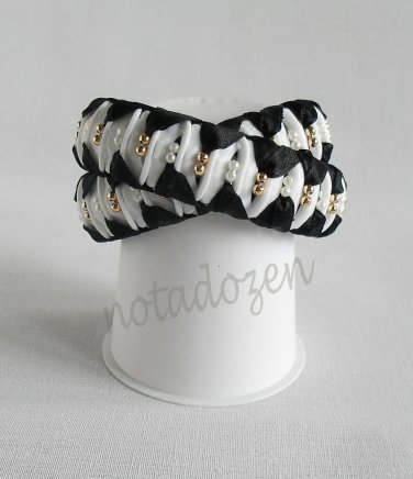 Recycled Bottle Caps Bracelet/Double/infinity handmade bangle(23)-black ribbon wrapped and beads