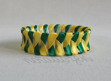 Recycled Bottle Caps Bracelet/handmade bangle(27)-feather green and yellow ribbon wrapped jewelry