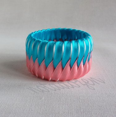 Recycled Bottle Caps Bracelet/two tone stripe bangle(29)-pink and blue ribbon wrapped/women