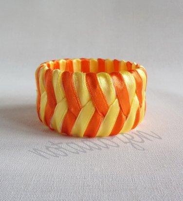 Recycled Bottle Caps Bracelet/Chevron bangle(30)-orange and yellow ribbon wrapped/handmade