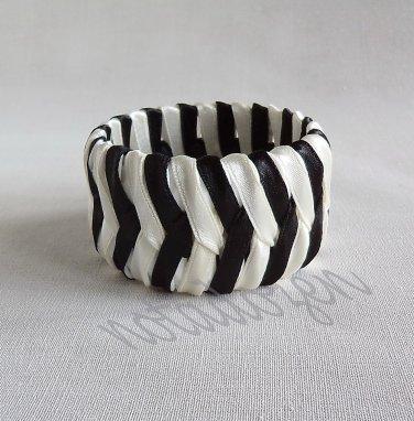 Upcycled Bottle Caps Bracelet/Chevron bangle(32)-black and off-white ribbon wrapped/handmade