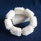 Upcycled Drinking Straw Garland Bracelet (3)-White straws and pink beads bangle/Handmade Jewelry