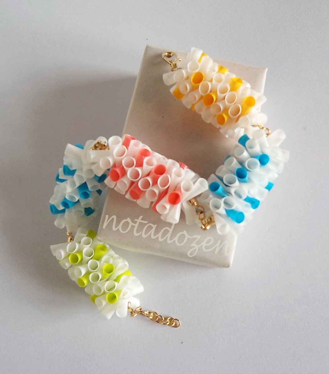 Upcycled Drinking Straw Bracelet(4)- colorful dot design chain&linked bracelet handmade Jewelry
