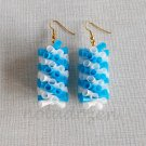 1 pair of handmade upcycled drinking straws dangle&drop earrings#3 white blue braided garland