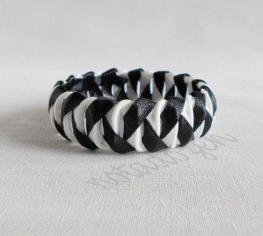 Upcycled Plastic rings of Bottle caps bracelet/bangle fishbone stitch(33)- black ribbon wrapped