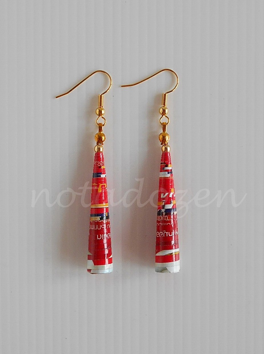 1 pair of handmade upcycled unique Red conical paper beads dangle&drop earrings #4