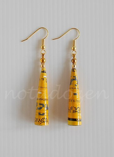 1 pair of handmade upcycled yellow conical paper beads dangle&drop earrings #5
