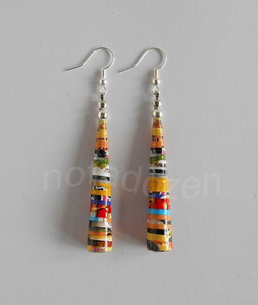 1 pair of handmade upcycled colorful conical paper beads dangle&drop earrings #6