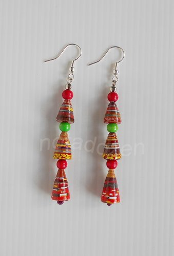 1 pair of handmade upcycled conical paper beads, red and green wooden beads dangle&drop earrings #8