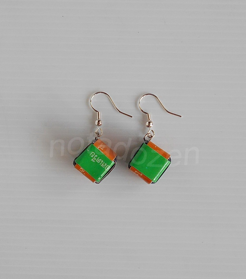 1 pair of handmade upcycled cubical paper beads, green, orange and blue dangle&drop earrings #9