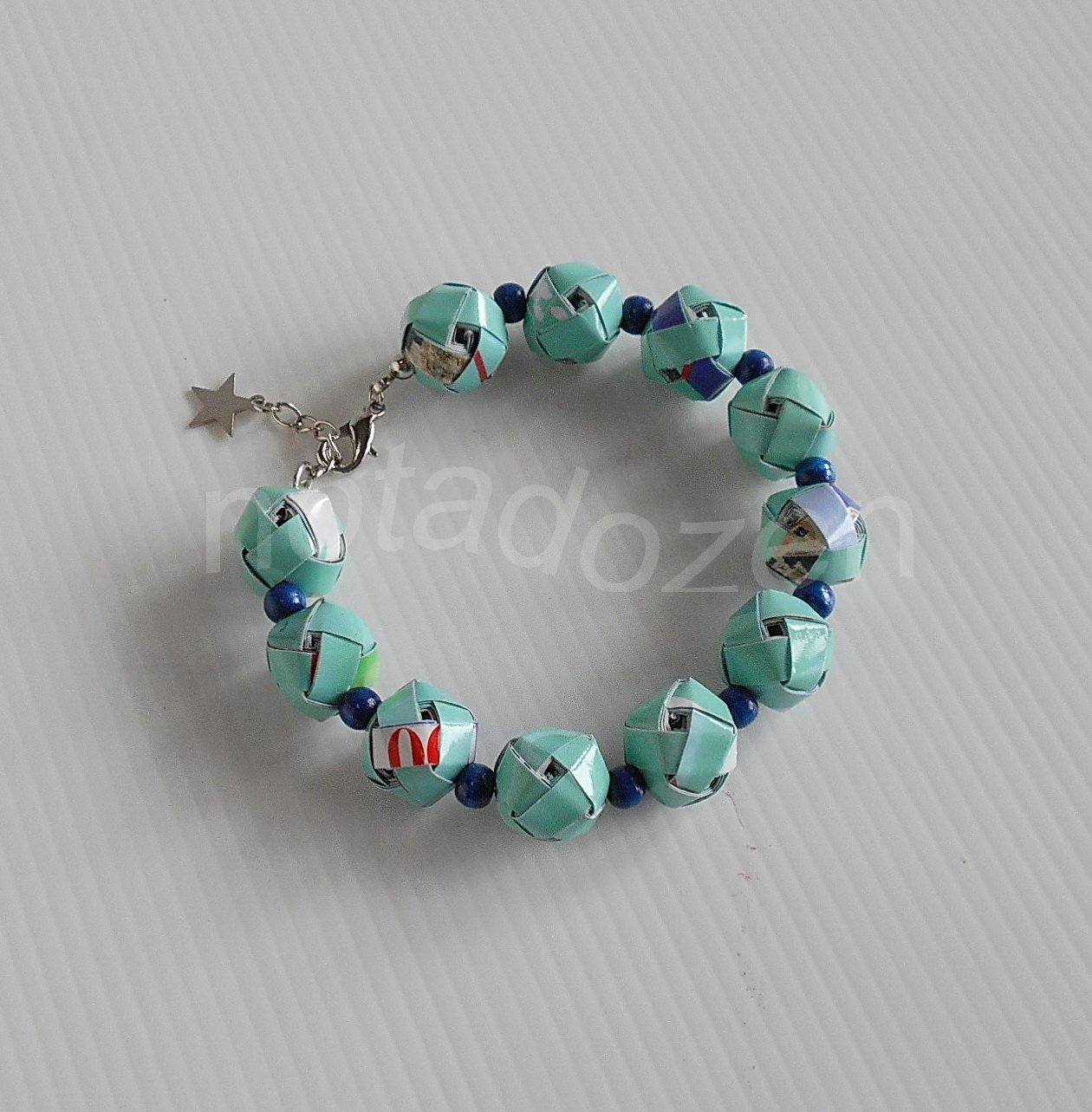 Upcycled bluish green woven paper ball and blue wooden beads Bracelet #6- Handmade Jewelry