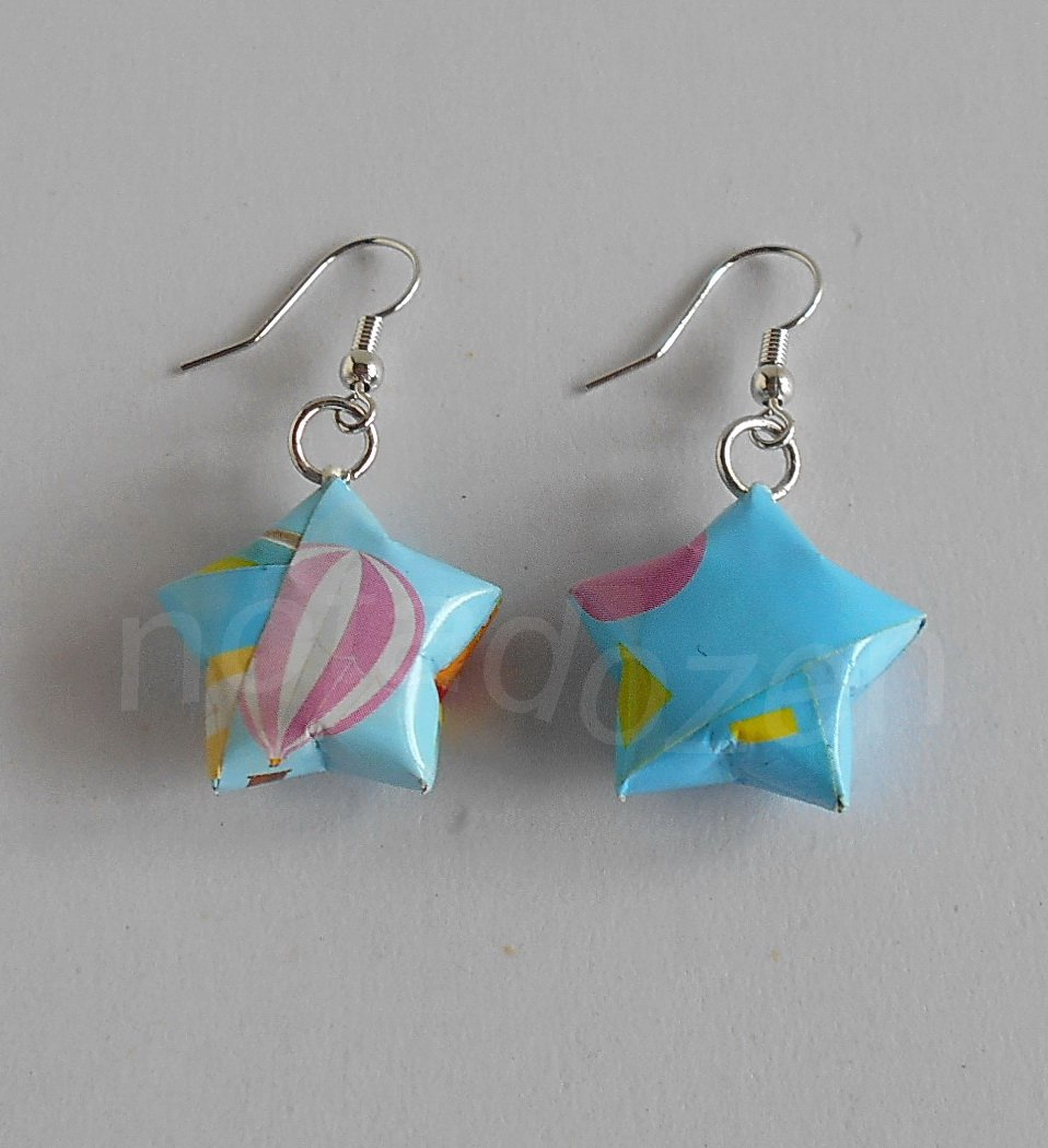 1 pair of handmade Upcycled light blue Origami Star paper beads dangle&drop earrings #12