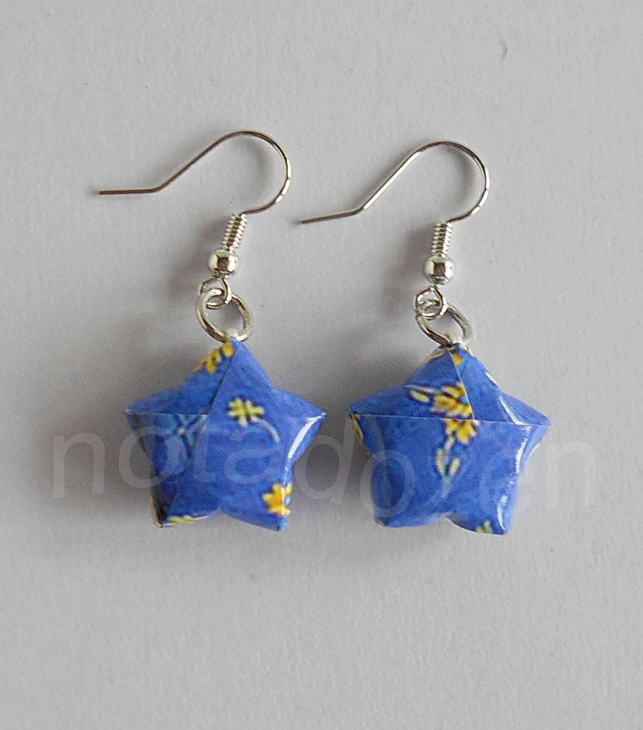 1 pair of handmade Upcycled blue Origami Star paper beads dangle&drop earrings #14