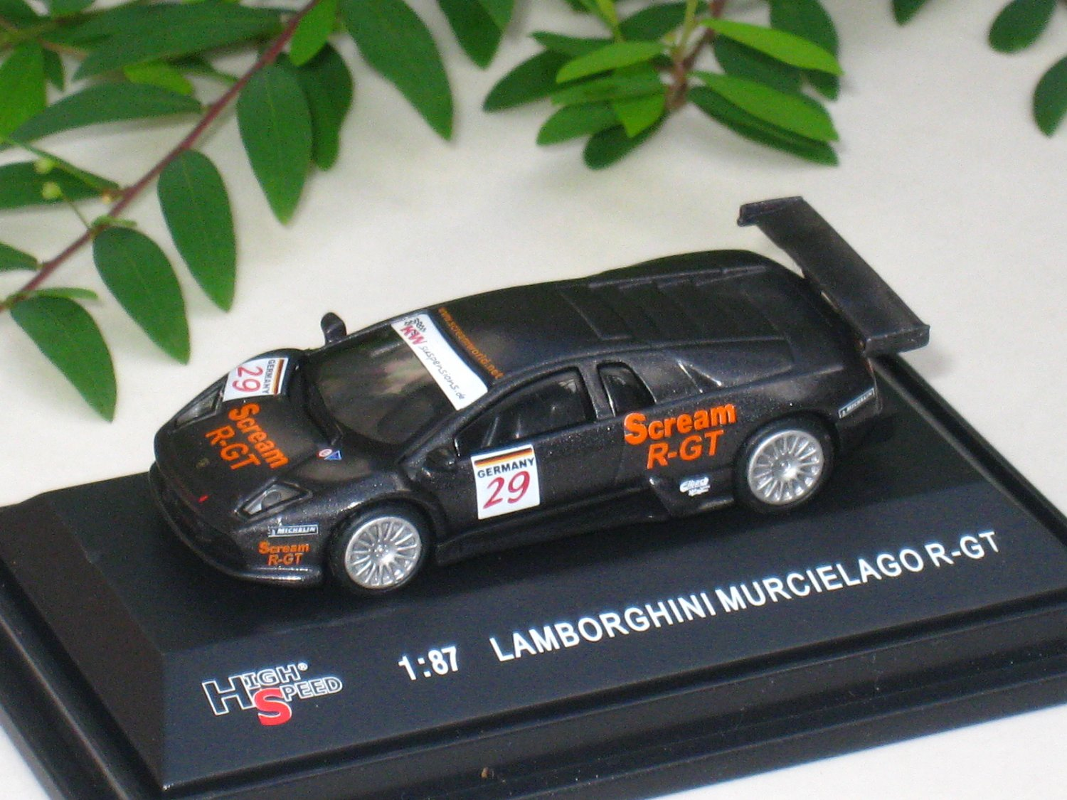High Speed 1/87 Diecast Car Lamborghini Murcielago Scream R-GT #29 Valencia 2004