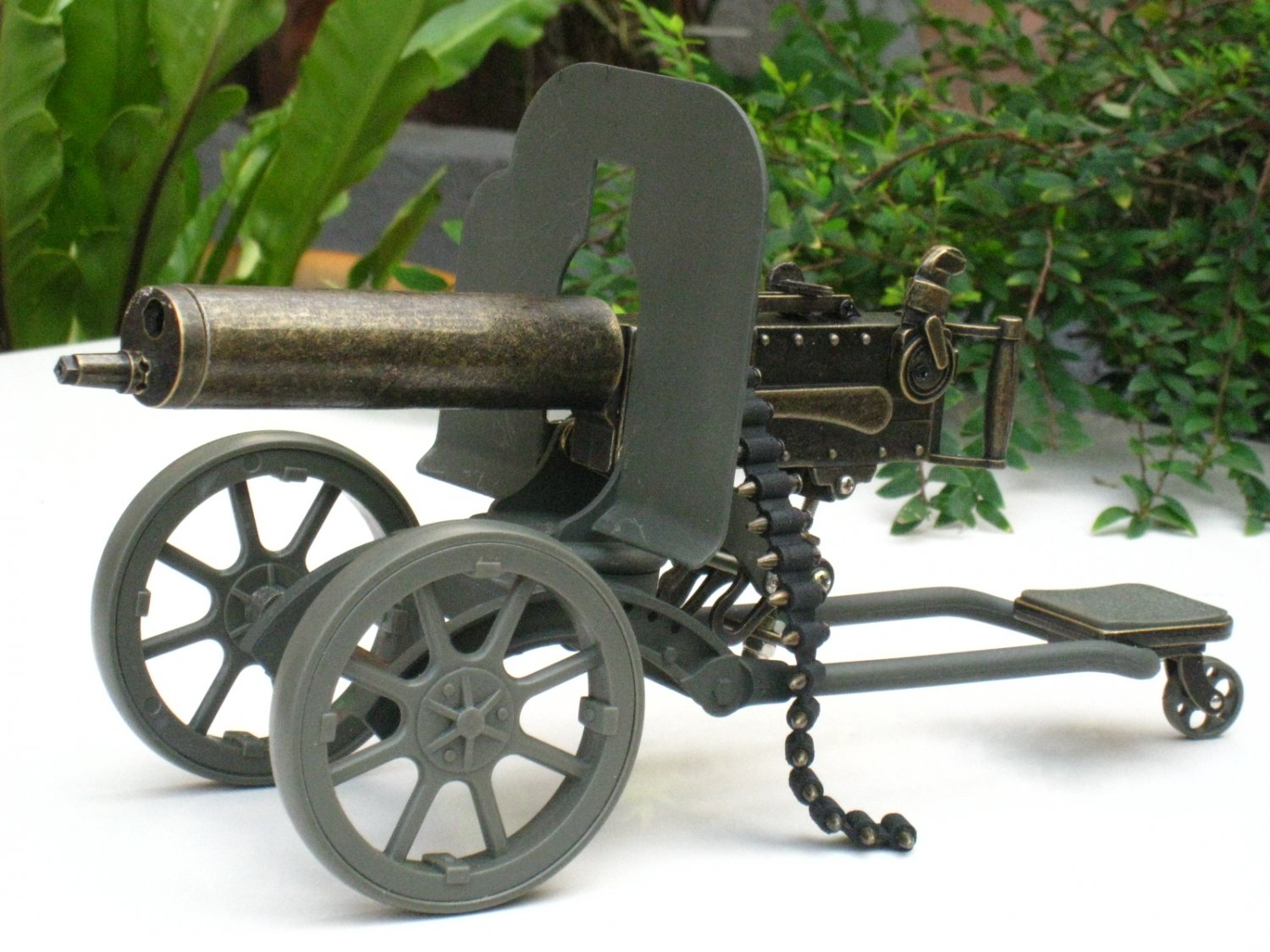 Table Lighter Jet Flame Military Heavy Machine Maxim Gun Cannon Style