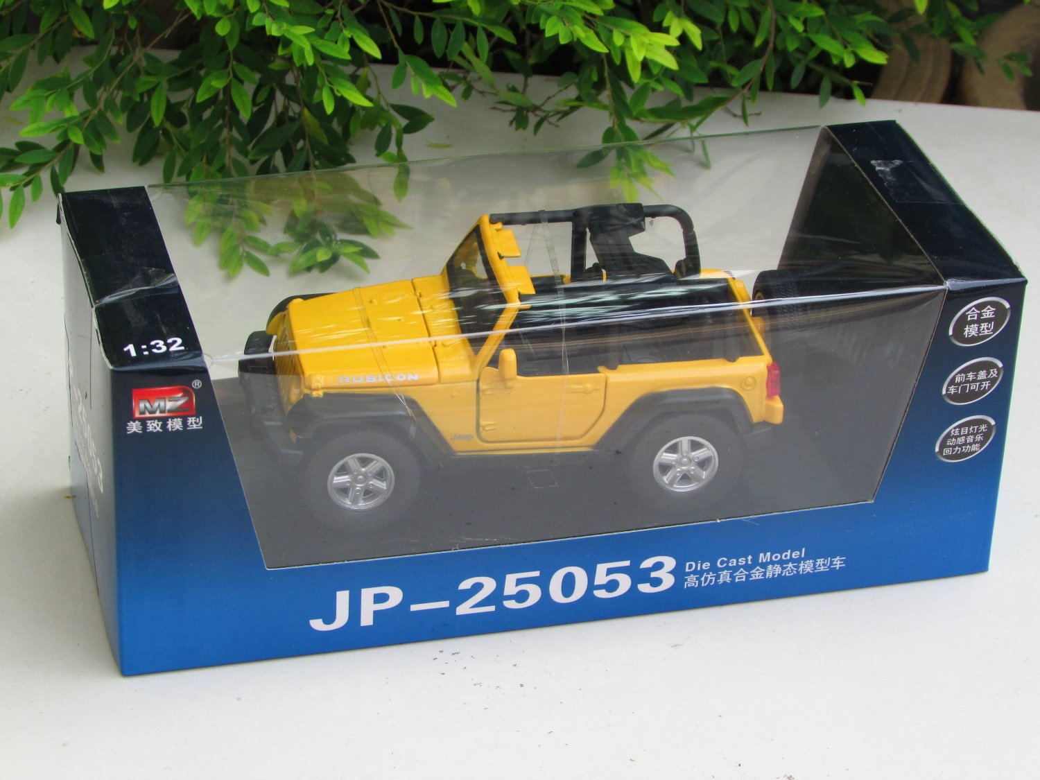 MZ 1/32 Diecast Car Model Convertible JEEP Wrangler SUV Car With Light & Sound (Yellow)