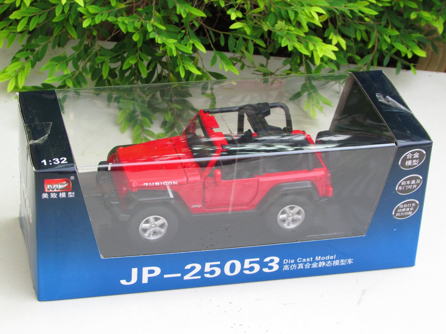 MZ 1/32 Diecast Car Model Convertible JEEP Wrangler SUV Car With Light & Sound (Red)