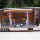 RMZ City 1/64 Plastic Petrol Station Playset SHELL & Diecast Audi R8 V10 Silver