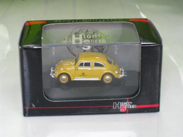 "High Speed 1/87 Diecast Model Car VW Volkswagen Kafer Beetle  ""Deutsche Bundespost""YELLOW"