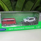 Welly 1/87 Diecast car Off Roader Trailer VW T2 Bus Red With VW Golf GTi White