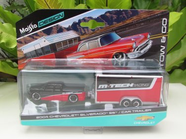 Maisto 1-64 Tow & Go 2004 Chevrolet Silverado SS M TECH Racing Car with Trailer
