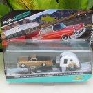 Maisto 1-64 Tow & Go 1967 Chevrolet EL Camino Car with  Traveler Trailer (GOLD)
