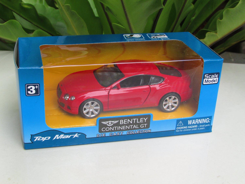 "Top Mark (5"") 1/34  Diecast  Model Car 2015  Bentley Continental GT (Red)"