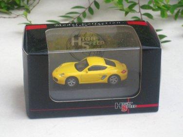 High Speed 1/87 Diecast Car Model Porsche Cayman S Yellow (5cm)