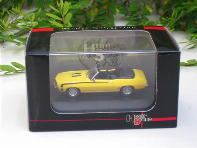 High Speed 1/87 Diecast Model Car  Camaro SS396 1969 (Yellow) 5cm