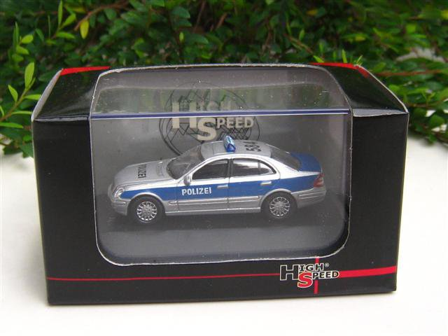High Speed 1/87 Diecast Model Car Mercedes Benz E Class  POLIZEI  (Silver) 5cm
