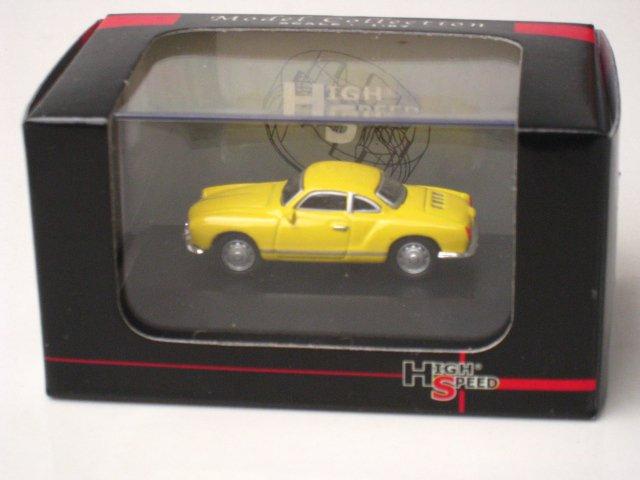 High Speed 1/87 Diecast  Model Car  1959 Volkswagen VW Karmann GHIA  Coupe Yellow (5cm)