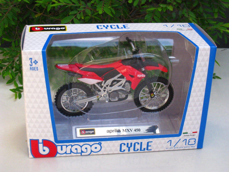 Bburago 1/18 Diecast Motorcycle Aprilia MXV 450 (Red)