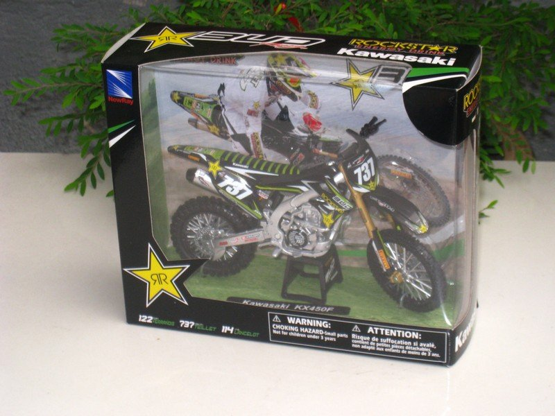 New Ray 1/12 Diecast Motocross 2013  Kawasaki KX 450F Bud Racing #737 Valentin Teillet