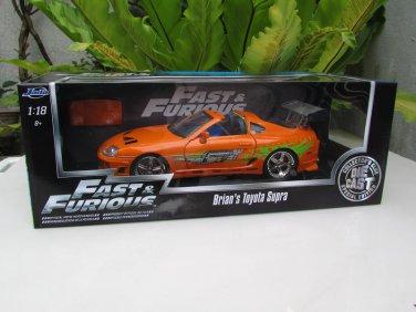 Jada 1/18 Fast & Furious Series -DIE CAST Brian's Toyota Supra (Orange) 1995