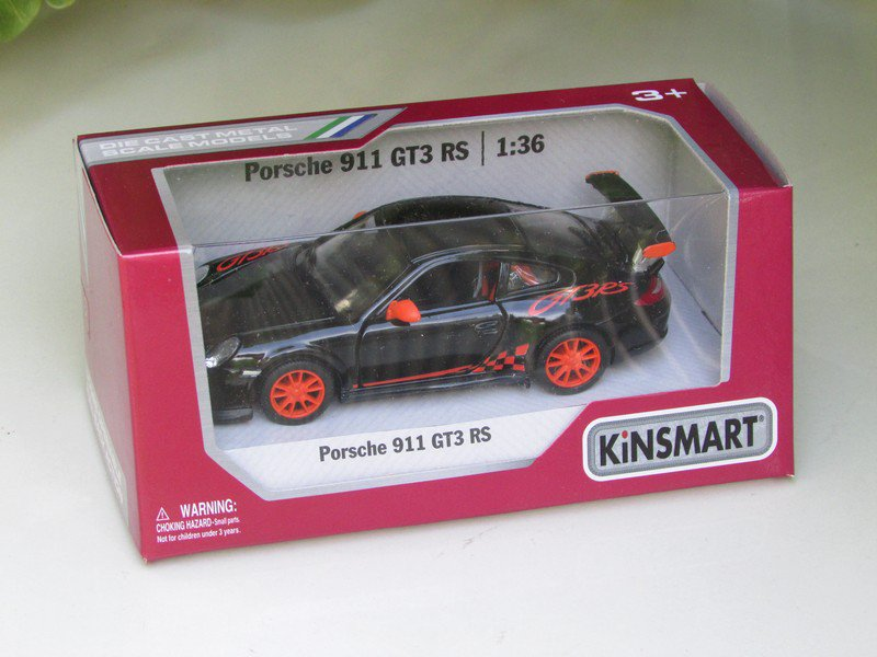 "Kinsmart (5"") Die cast Model Car 2010 Porsche 911 997 GT3 RS Black (1-36) Sports Car"