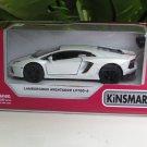 "Kinsmart (5"") Die cast Lamborghini Aventador Lp700-4  White  (1-38) Italian Stripes"