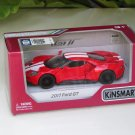 "Kinsmart (5"") Die cast  Model Car 2017 Ford GT Red (1-38) White Stripe"