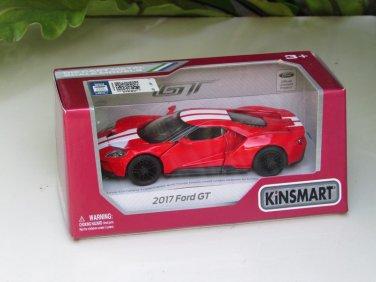 """Kinsmart (5"""") Die cast  Model Car 2017 Ford GT Red (1-38) White Stripe"""