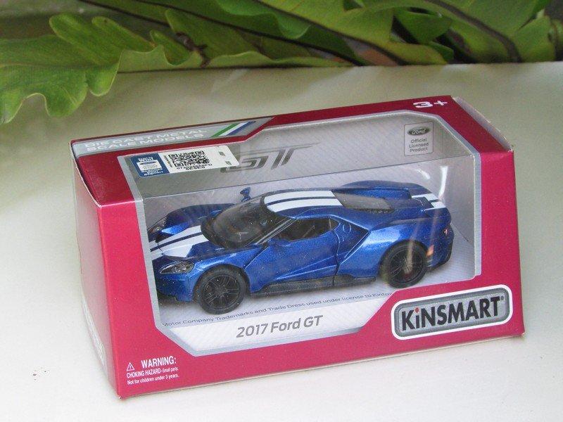 """Kinsmart (5"""") Die cast  Model Car 2017 Ford GT Blue (1-38) White Stripe"""