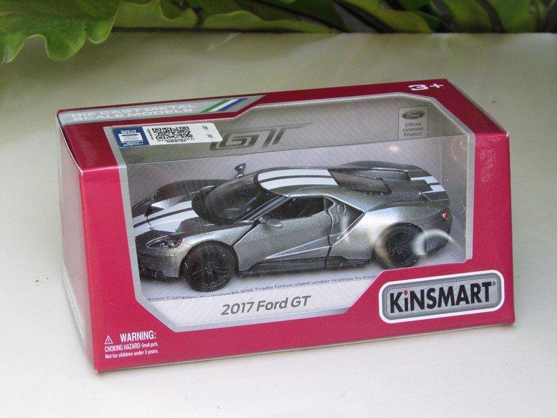 "Kinsmart (5"") Die cast  Model Car 2017 Ford GT Silver (1-38) White Stripe"