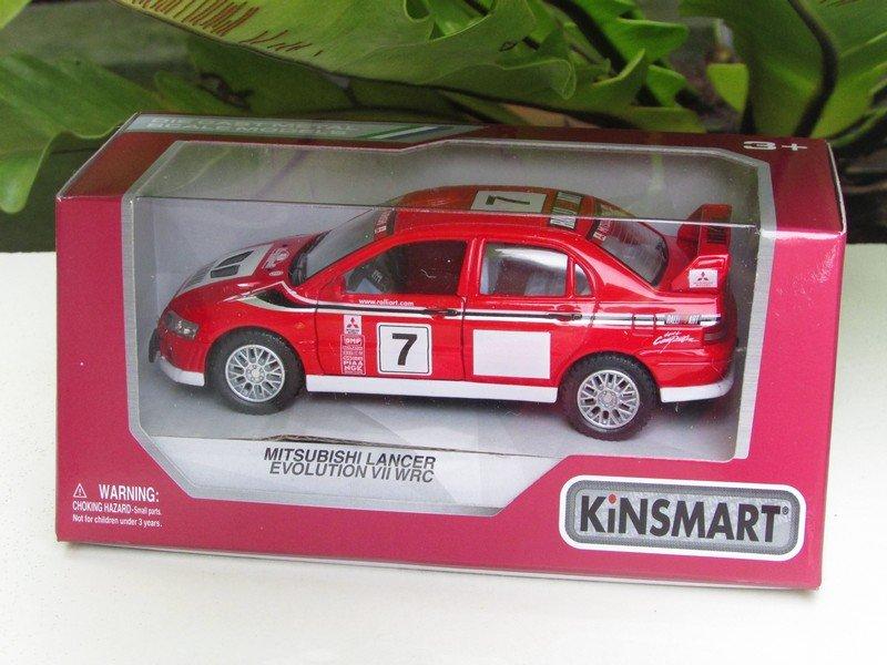 """Kinsmart (5"""") Die cast  2001 Mitsubishi Lancer Evolution Evo VII WRC #7 (1-36) Rally Car"""