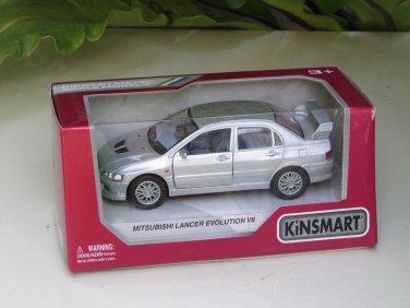 """Kinsmart (5"""") Die cast  2001 Mitsubishi Lancer Evolution Evo VII Silver  (1-36)"""