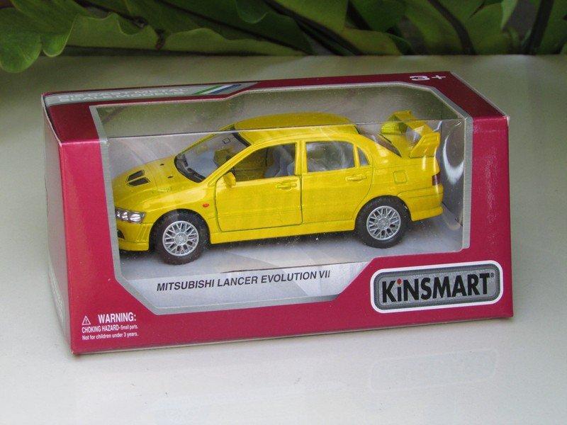 "Kinsmart (5"") Die cast  2001 Mitsubishi Lancer Evolution Evo VII Yellow  (1-36)"