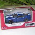 """Kinsmart (5"""") Die cast  Model Car 2015 Ford Mustang GT 5.0 Blue (1-38) White Stripe"""