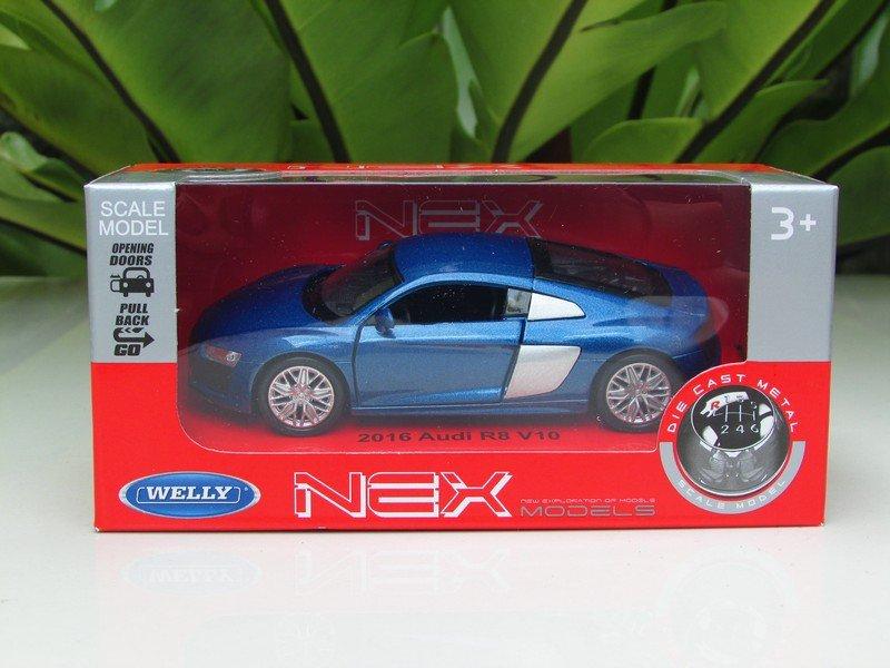 Welly 1/34-1/39 Die cast Car 2016 Audi R8 V10 Blue (11cm)